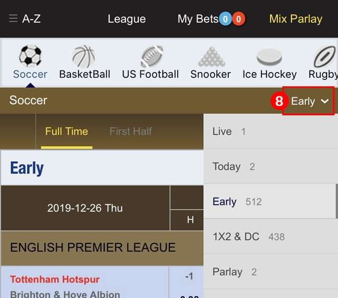 Select a betting form