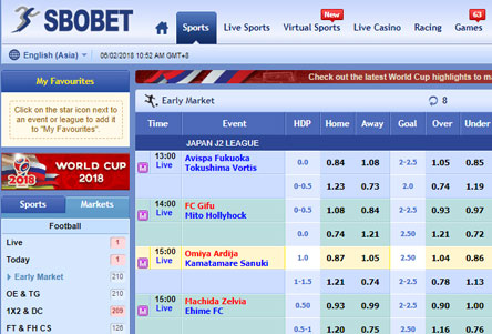 select menu football bet SBOBET